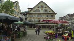 Market in the main square of Dornbirn Stock Footage