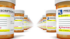 Endless Pill Bottles low angle loop Stock Footage