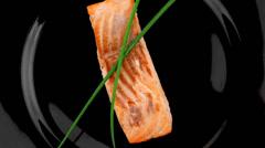 Roast salmon fillet Stock Footage
