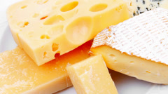 Various types of cheese on white Stock Footage