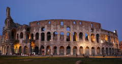 Ultra HD 4K Illuminated Colosseum dusk in Rome Italy European Tourists Visiting Stock Footage