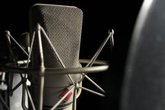 Studio microphone in front Stock Photos