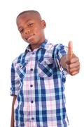 african american boy making thumbs up - black people - stock photo