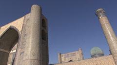 'Bibi-Khanym' mosque, birds, blue sky, Silk Road, Uzbekistan Stock Footage