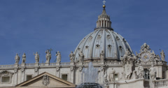 Ultra HD 4K St. Peter's Basilica, Vatican City, papa dome, cupola, art, fountain Stock Footage
