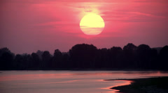 0098 Sunset on River Po Stock Footage