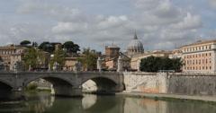 Ultra HD 4K Bridge Vittorio Emanuele II, St. Peter's Basilica Tiber River Sunny Stock Footage