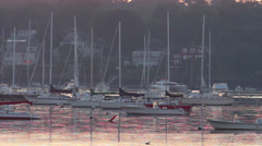 Daybreak in the peaceful harbor at Marblehead, Massachusetts Stock Footage