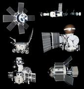 space ships probes cutout - stock photo