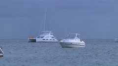Boats zoomout overcast Stock Footage