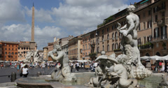 Ultra HD 4K Rome Square Piazza Navona People Tourists Walking Establishing Shot Stock Footage