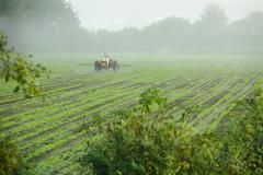 Tractor Spraying Crop - stock photo