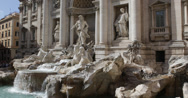 Stock Video Footage of Ultra HD 4K Trevi Fountain Fontana Rome Italy chariot coins empire horses statue