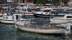 Boats in harbors of the city of Hvar, the island Hvar, Croatia Stock Footage
