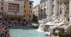 Ultra HD 4K Tourists People Crowd Iconic Baroque Trevi Fountain Fontana Rome Stock Footage