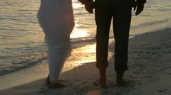 Sunset With Couple At Beautiful Beach Wedding Stock Footage