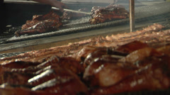 Roasting Turkey Legs at a State Fair Stock Footage
