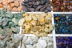 Colourful semi-precious stones Stock Photos