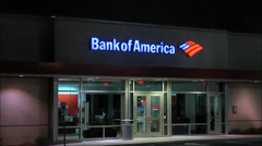 Bank of America entrance ATM Stock Footage