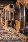 Freight train and track Stock Photos