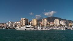 marina and apartment buildings, Costa del Sol Stock Footage