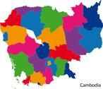 Stock Illustration of Colorful Cambodia map