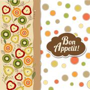 bon appetite card with fruits - stock illustration