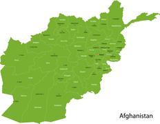 Green Afghanistan map Stock Illustration
