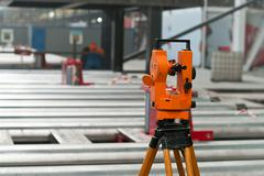 Optical level at factory among the equipment, nobody Stock Photos