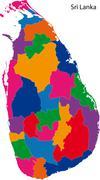 Colorful Sri Lanka map - stock illustration