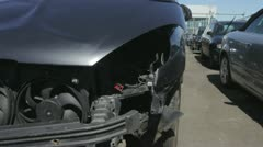 Car Pound For Vehicles Damaged In Traffic Accident Stock Footage