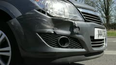 Close Up Of Vehicle Damaged In Traffic Accident Stock Footage