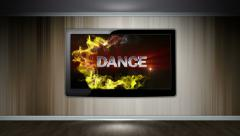 DANCE Text in Monitor, with Final White Transition Stock Footage