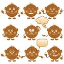 Stock Illustration of smilies round, set, brown