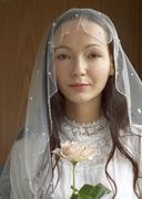 Bride holding rose Stock Photos
