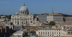 Ultra HD 4K Aerial View St. Peter's Basilica Vatican Conciliation Rome Skyline Stock Footage