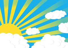sun and clouds - stock illustration