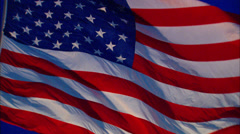 US Flag at Night Stock Footage