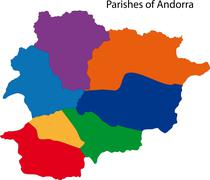 Colorful Andorra map - stock illustration