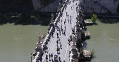Ultra HD 4K Rome Italy, Sant'Angelo Saint Angel's Bridge Ponte Tourists Walking Stock Footage