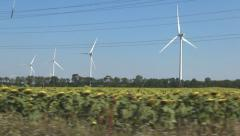 Driving, Wind Turbines in Agriculture Field, Windmill on Sunflower, Green Energy Stock Footage