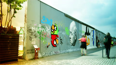 East Side Gallery -  Berlin Wall time lapse - stock footage