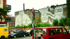 Mural painting on the wall of a building at Kreuzberg. Stock Footage