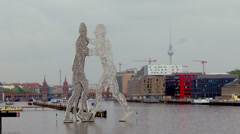 Molecule Man is a series of aluminium sculptures, in Berlin - stock footage