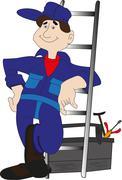 Workman ready for work Stock Illustration