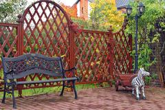 garden fence and outdoor decoration - stock photo