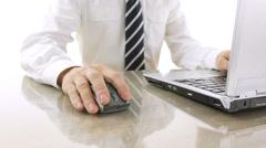 Closeup of a man using laptop Stock Footage