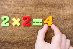 Solving simple mathematical formula Stock Photos