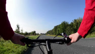 Stock Video Footage of cyclist riding mountain bike