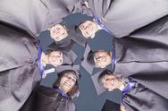 Stock Photo of Circle of Graduate Students, View from Below